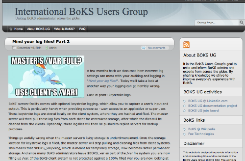 BoKS Users Group website