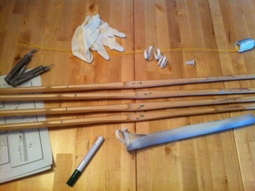 A shinai in pieces