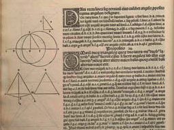 Part of the 1482 print of Euclid's work.