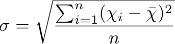 The formula for statistical, standard deviation