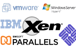 A bunch of logos of virtualization products and vendors.